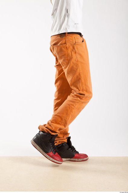 Leg Whole Body Man Animation references Black Casual Trousers Athletic Studio photo references