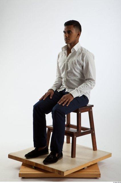 Whole Body Man Artistic poses Animation references Black Formal Slim Studio photo references