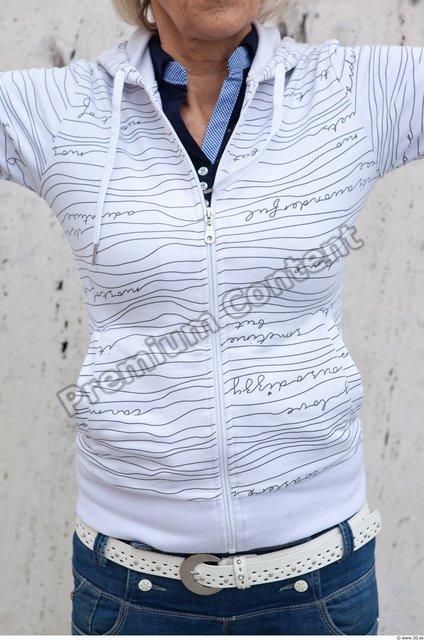 Upper Body Woman White Casual Sweater Average