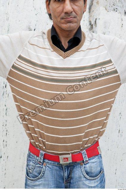 Upper Body Man White Casual Sweater Average