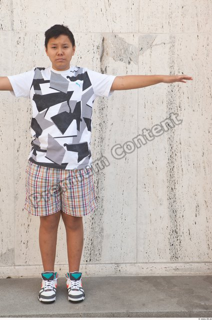 Whole Body Man T poses Asian Casual Average Street photo references