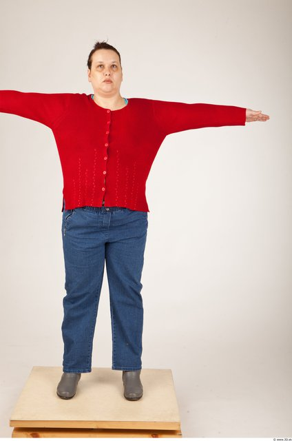 Whole Body Woman T poses Casual Overweight Studio photo references