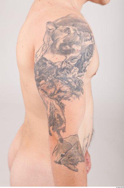 Skin Man Tattoo Nude Average Studio photo references
