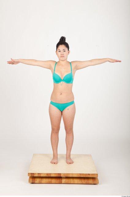 Whole Body Woman T poses Asian Underwear Bra Slim Studio photo references
