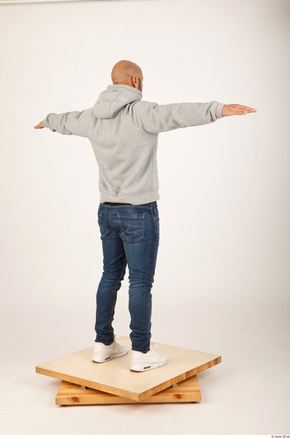 Whole Body Man Animation references T poses Casual Bald Studio photo references