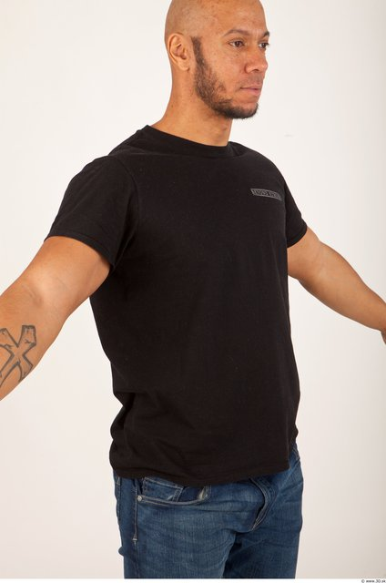 Upper Body Man Animation references Casual Shirt T shirt Bald Studio photo references