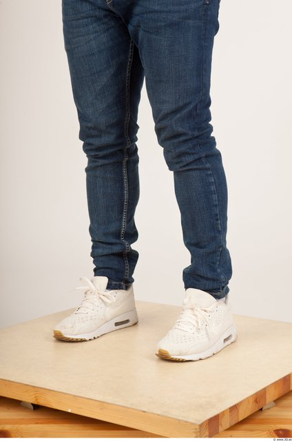 Calf Man Casual Jeans Studio photo references