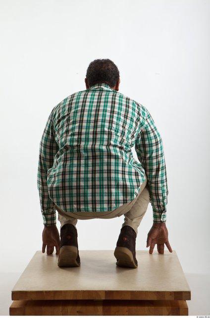 Whole Body Black Casual Shirt Trousers Average Kneeling Studio photo references