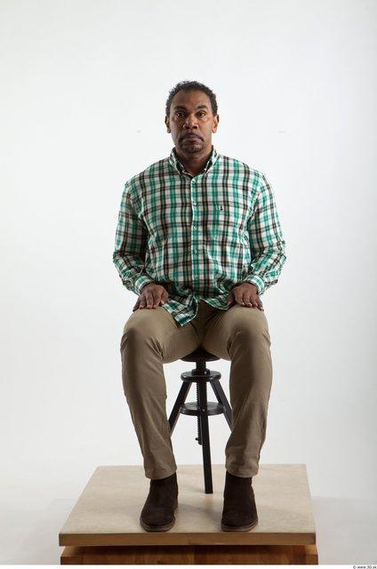 Whole Body Black Casual Shirt Trousers Average Sitting Studio photo references