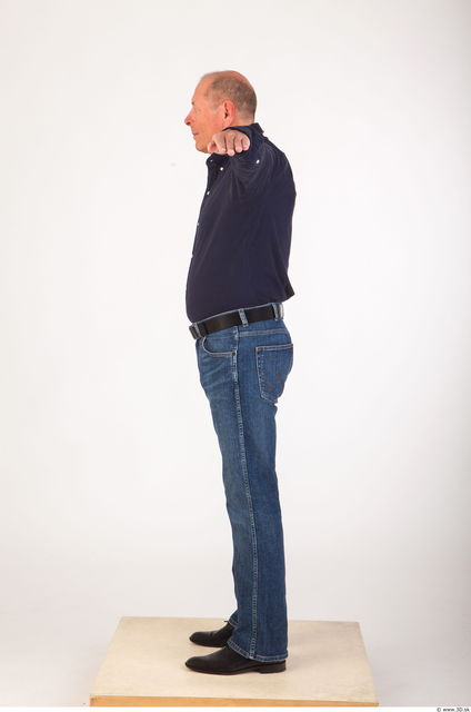Whole body deep blue shirt jeans modeling reference of Ed