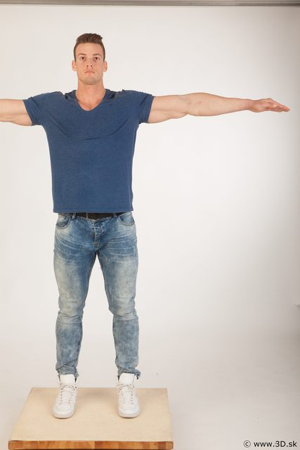 Whole body blue tshirt light blue jeans modeling t pose of Andrew