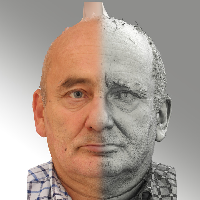 and more Head Emotions Man White Average Bald 3D Scans