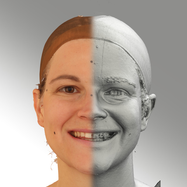 Head Emotions Woman White Average 3D Scans