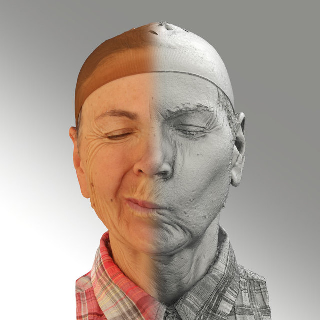 Head Emotions Woman White Slim 3D Scans