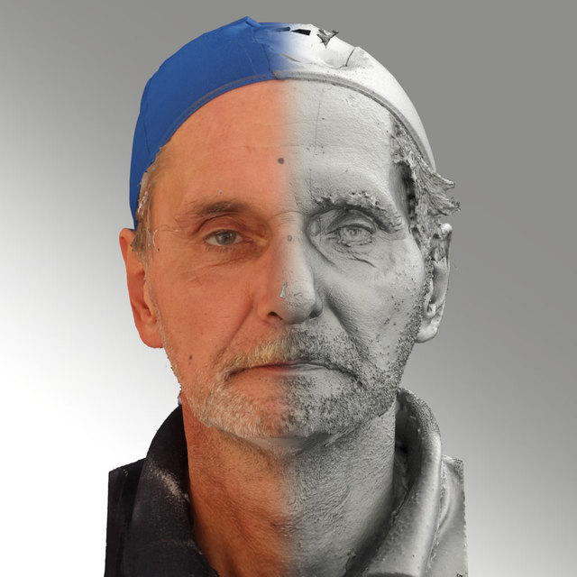 Head Emotions Man White Slim 3D Scans