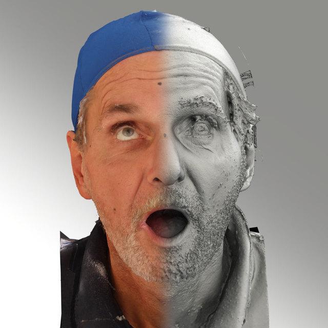 Head Emotions Man White Slim 3D Scans