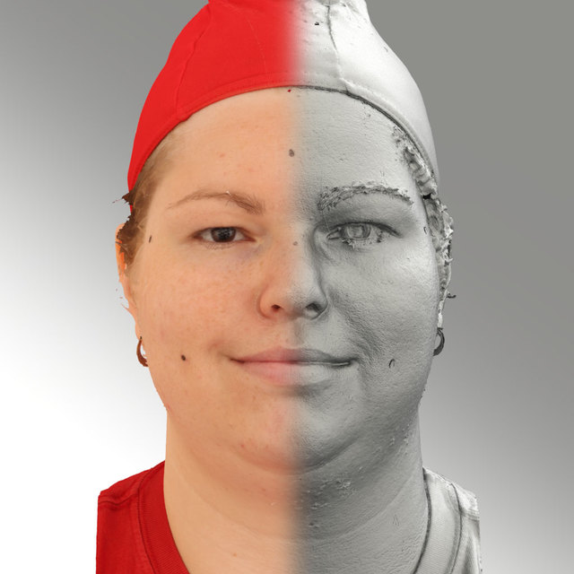 Head Emotions Woman White Overweight 3D Scans