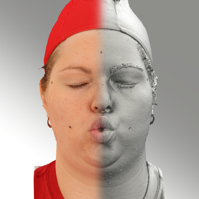 Head Phonemes Woman White Overweight 3D Scans