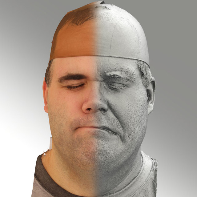 Head Emotions Man White Overweight 3D Scans
