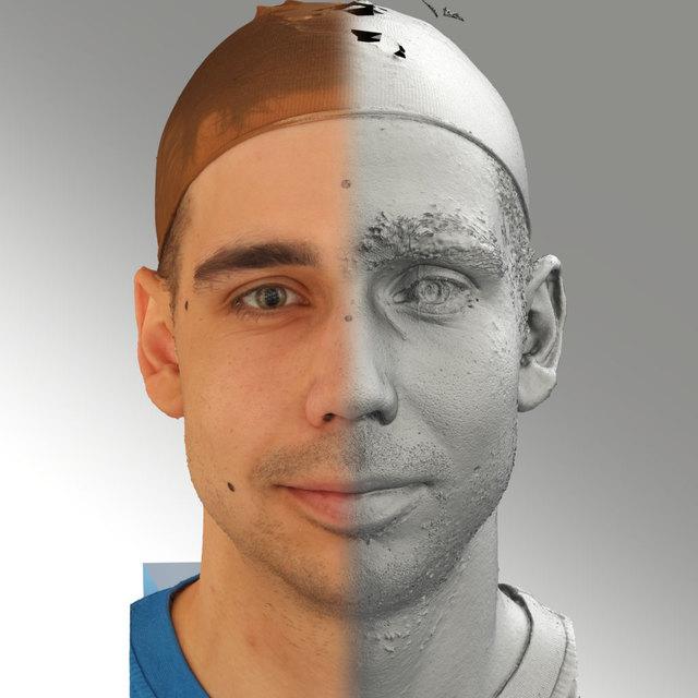 Head Emotions Man White 3D Scans