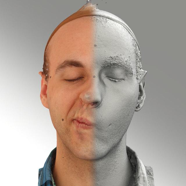 Head Emotions Man White Average 3D Scans