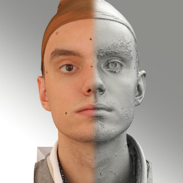Head Emotions Man White Average 3D Scans