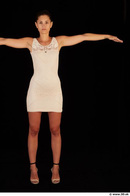 Whole body white dress white heels modeling t pose of Little Caprice