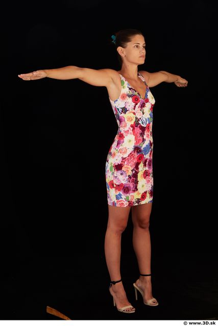 Whole body colored dress white heels modeling t pose of Little Caprice