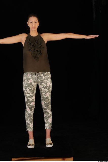 Woman T poses Casual Shoes Shirt Pants Slim Studio photo references