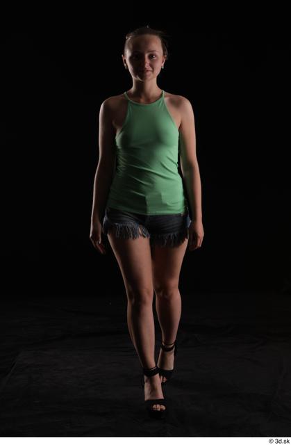 Whole Body Woman White Slim Walking Studio photo references