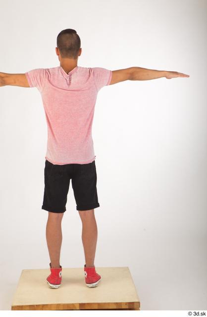 Whole Body Man White Shoes Shirt Shorts Slim Standing Studio photo references