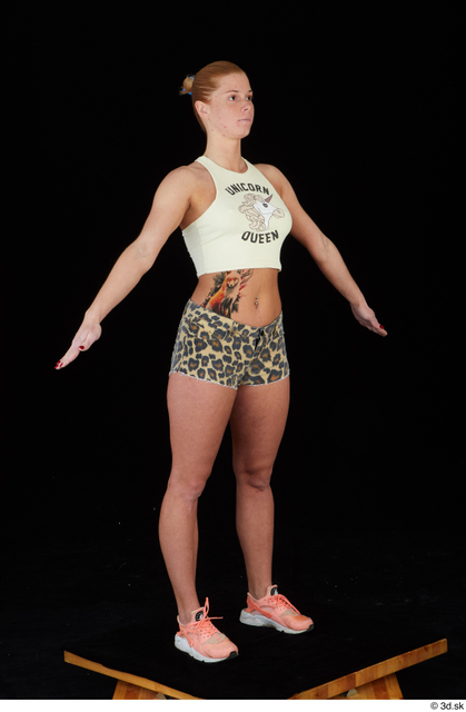 Whole Body Woman Shorts Slim Leopard Standing Top