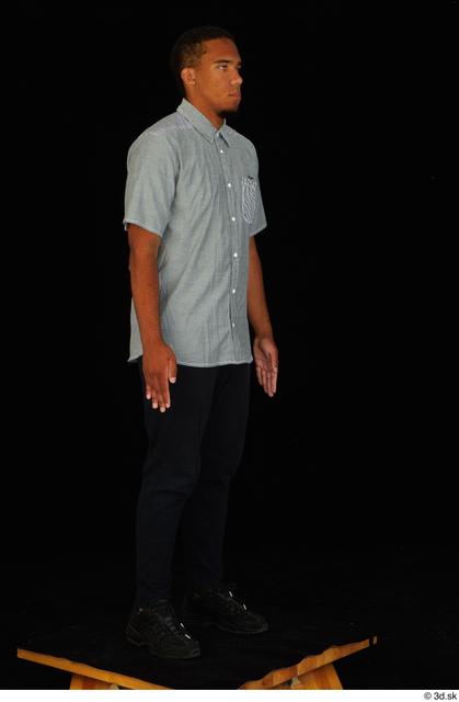 Whole Body Man Black Shirt Pants Average Standing Studio photo references
