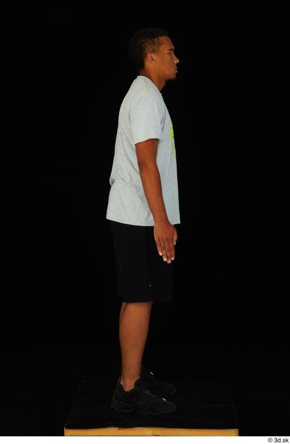 Whole Body Man Black Shorts Average Standing Studio photo references