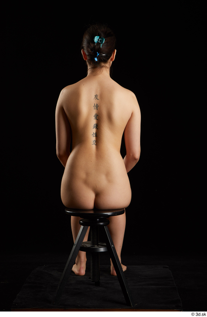 Whole Body Woman Asian Nude Slim Sitting Studio photo references