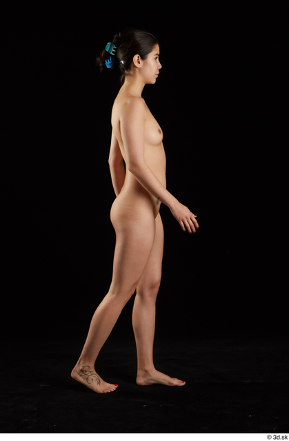 Whole Body Woman Asian Nude Slim Walking Studio photo references