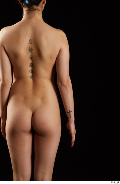 Back Woman Asian Nude Slim Studio photo references