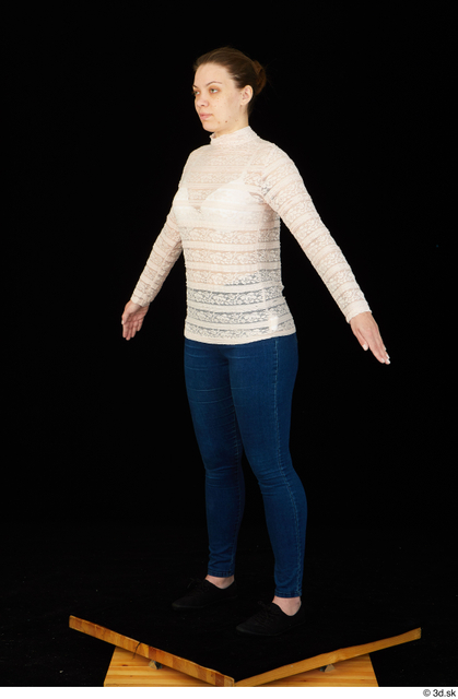 Arm Whole Body Woman White Shirt Jeans Average Standing Studio photo references