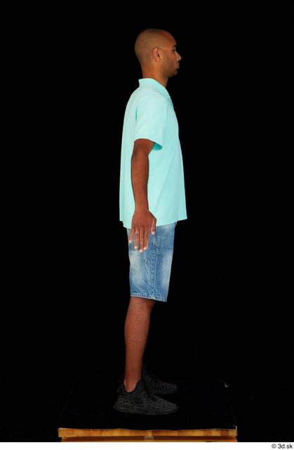 Whole Body Man Black Jeans Shorts Slim Standing Studio photo references