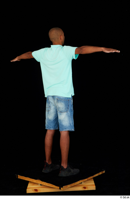 Whole Body Man T poses Black Jeans Shorts Slim Standing Studio photo references