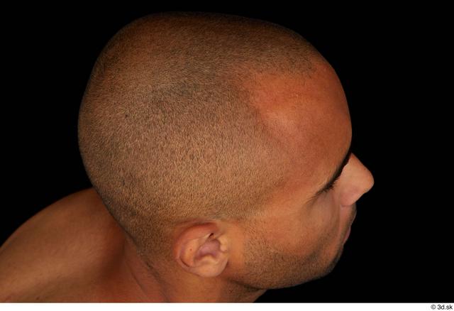 Hair Man Black Slim Bald Studio photo references