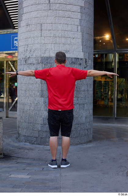 Whole Body Man T poses Casual Chubby Standing Street photo references