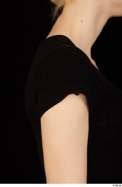 Arm Upper Body Woman White Shirt Average Studio photo references