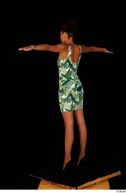 Whole Body Woman Black Dress Slim Standing Studio photo references