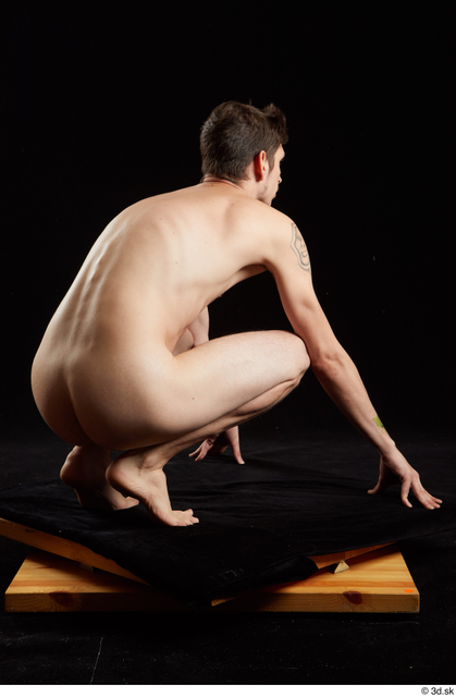 Whole Body Man White Nude Slim Kneeling Studio photo references
