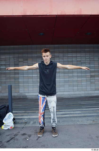 Whole Body Man T poses White Sports Slim Standing Street photo references