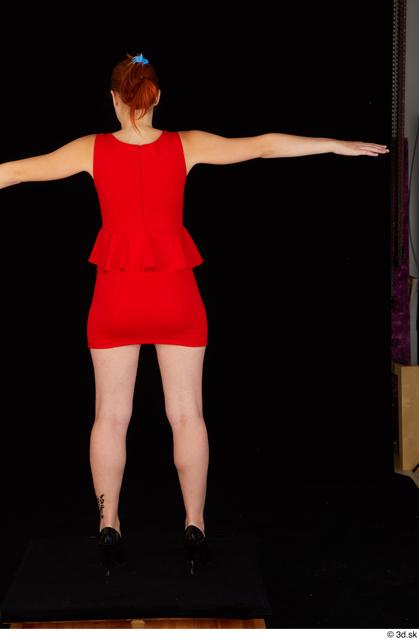 Whole Body Woman White Dress Slim Standing Studio photo references