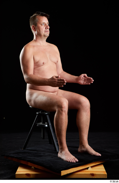 Whole Body Man White Nude Chubby Sitting Studio photo references