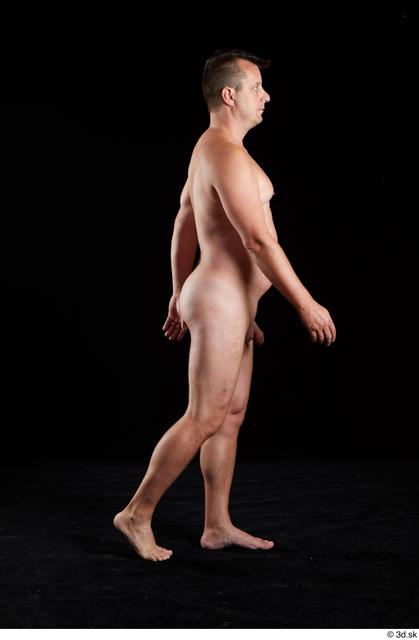 Whole Body Man White Nude Chubby Walking Studio photo references