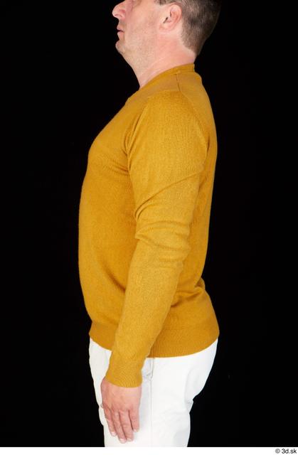 Upper Body Man White Casual Sweatshirt Chubby Studio photo references